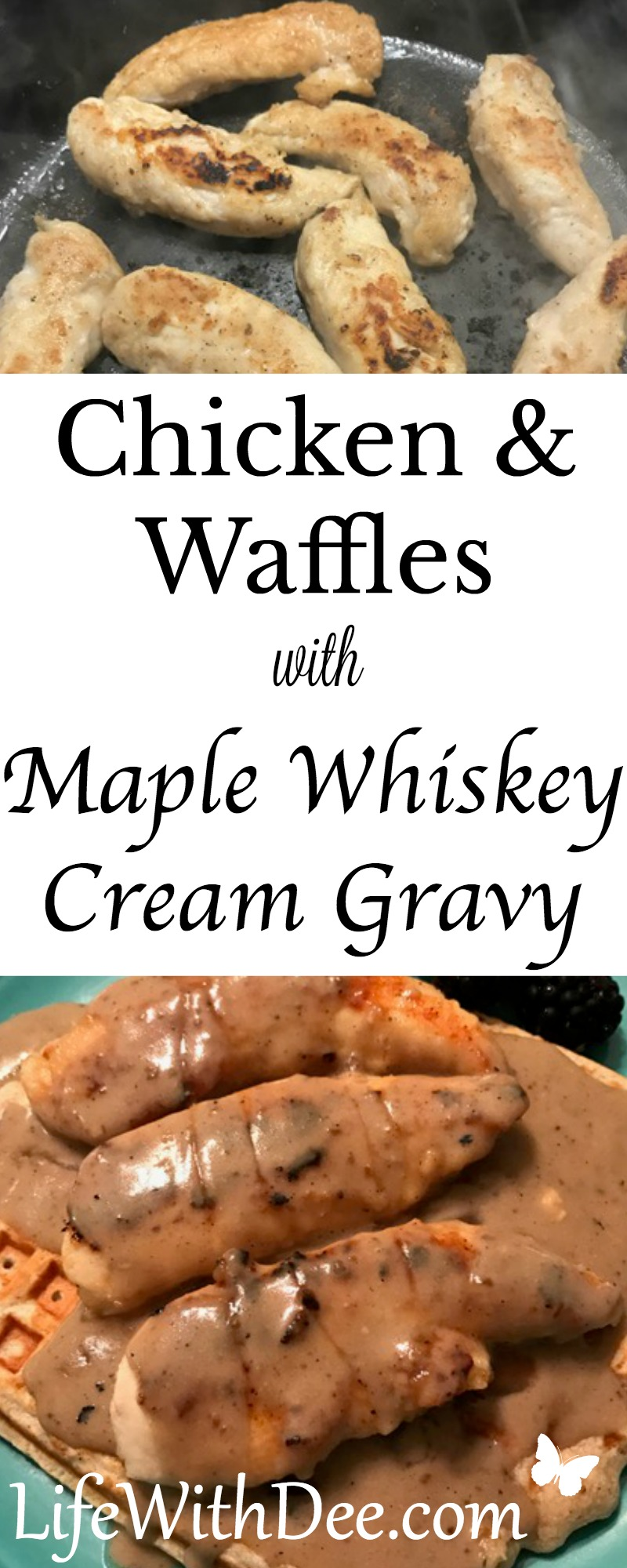 Chicken and Waffles with Maple Whiskey Cream Gravy