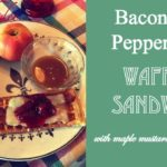 Bacon and Pepper Jack Waffle Sandwich With Maple Mustard Dipping Sauce