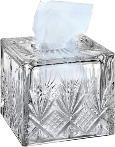 image of crystal tissue box holder