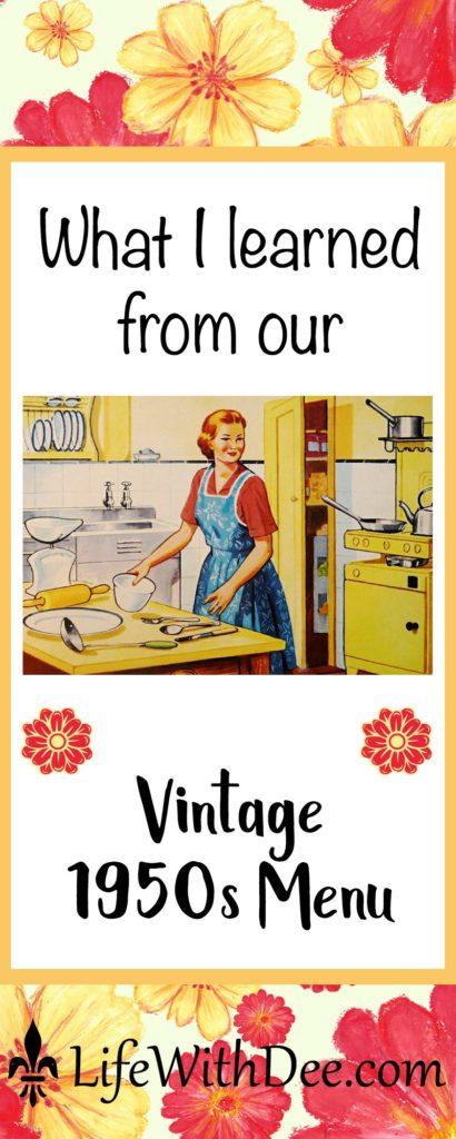 Vintage 1950s menu