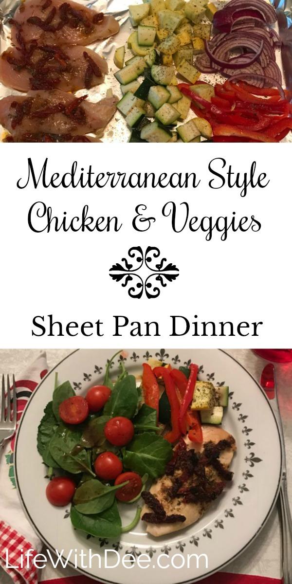 Mediterranean chicken and veggies sheet pan dinner
