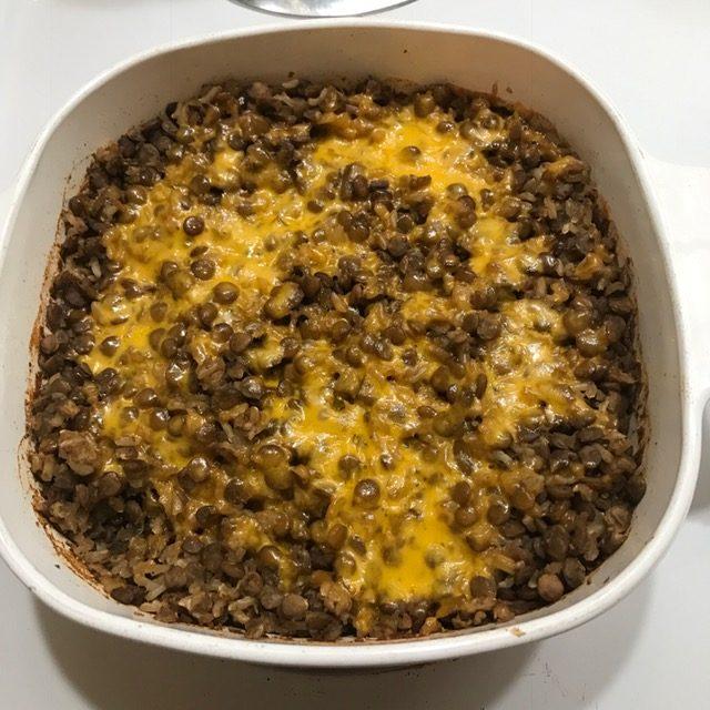 lentil rice casserole - after baking
