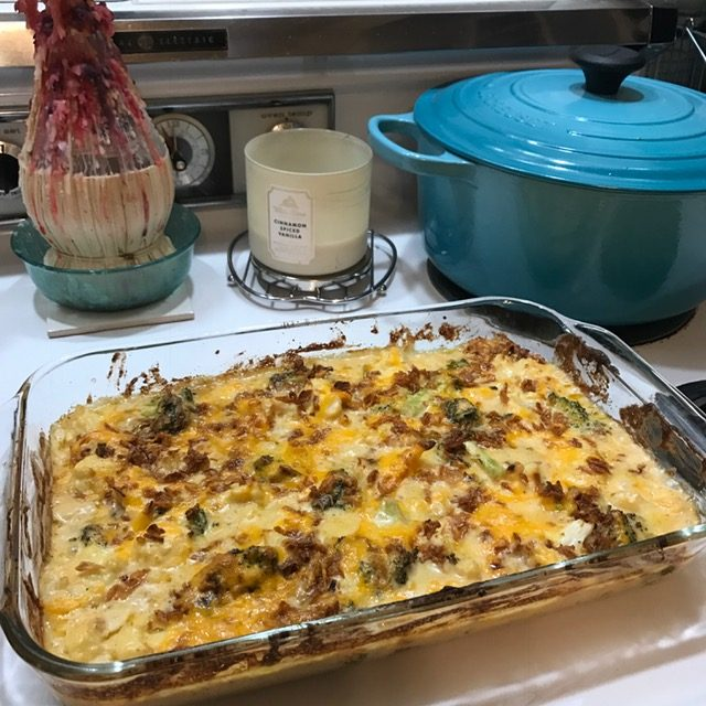 Cheesy Cauliflower Broccoli Bake just out of oven