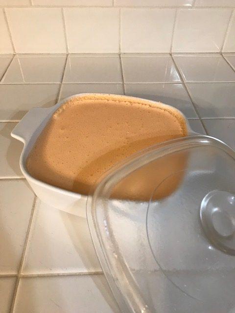 dish with orange jello dessert