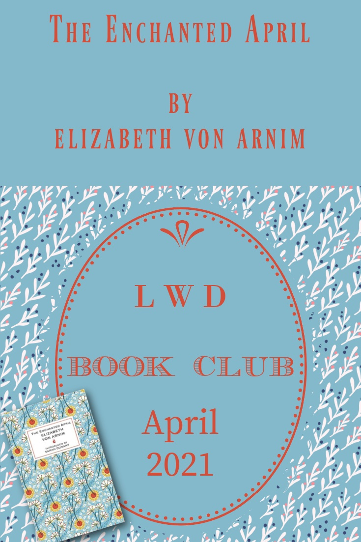 The Enchanted April book cover and text on blue background