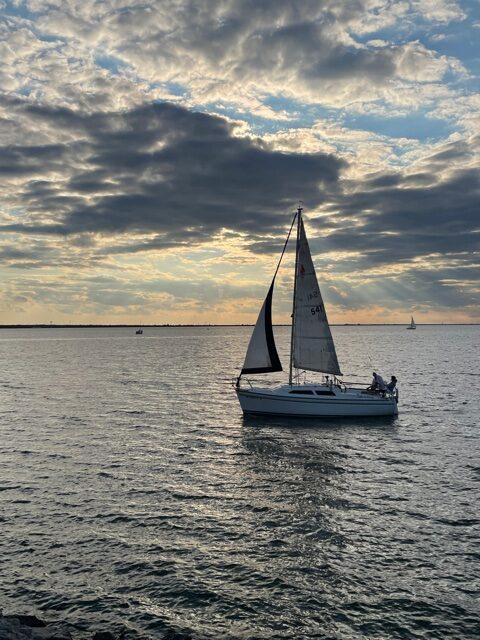 Sailboat on lake