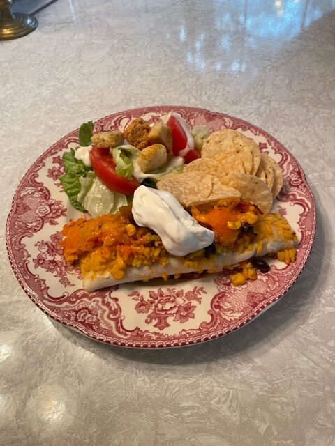 Yellow Rice Enchilada Casserole on plate